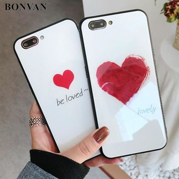 BONVAN Tempered Glass Case For iPhone X 8 7 plus Cute Love Heart Full Protection Glass Cover For iPhone 6 6s 7 8 plus Hard Cases