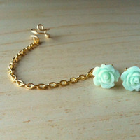 Seafoam mint green resin mini rose bud ear stud with gold ear cuff chain earring 10mm