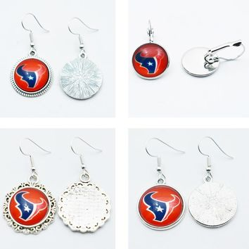 10Pair American University Sports Football Houston Texans Time Gems Charm Jewelry Earrings Glass Drop Earrings Jewelry