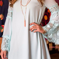 Lady Of Lace Sage Shift Dress