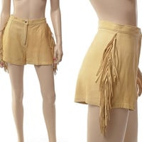 Vintage 60s 70s Buckskin Leather Fringe Shorts 1960s 1970s High Waist Hippie Boho Indian Western Fringed Biker Rocker Pants / size 12