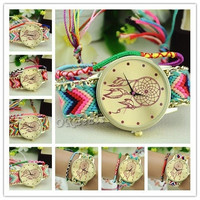Women Dreamcatcher Pattern Braided Ethnic Quartz Knit Chain Bracelet Wrist Watch = 1957999364