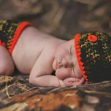 Hunting baby boy Diaper cover and hat set- Prop for photos
