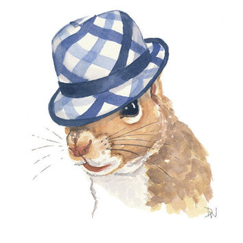 Original Squirrel Watercolour Illustration - Fedora Hat, Squirrel Painting, Blue Plaid, 8x10
