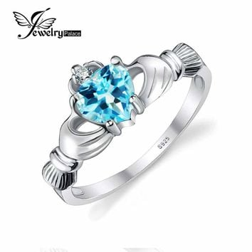 JewelryPalace Heart 0.6ct Irish Claddagh Natural Blue Topaz Birthstone Promise Ring For Women Solid 925 Sterling Silver Jewelry