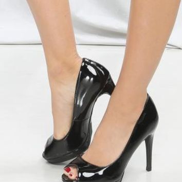 Faux Patent Leather Open Toe Pumps