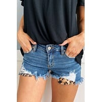 KanCan Distressed Leopard Pocket Shorts