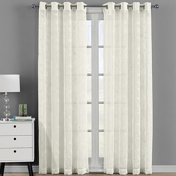Brook Embroidered Grommet Top Sheer Panel Curtain Set - Pair (Set of 2 )