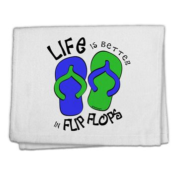 "Life is Better in Flip Flops - Blue and Green 11""x18"" Dish Fingertip Towel"