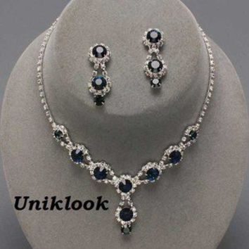 Bridesmaid Formal Bridal Sapphire Blue Crystal Costume Jewelry Necklace Earrings