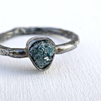 raw diamond ring rustic, unique engagement ring molten, rough diamond twig ring black silver, blue diamond ring, diamond promise ring silver