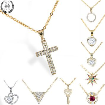New 12 style geometric zircon crystal pendant choker necklace jewelry Love heart cross key round star shaped necklaces&pendants