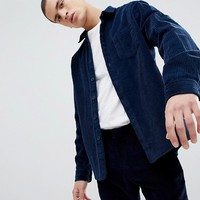 ASOS DESIGN overshirt in cord in navy at asos.com