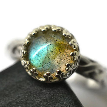 8mm Labradorite Ring, Celtic Engagement Ring, Natural Gemstone Ring, Handforged Sterling Silver Ring