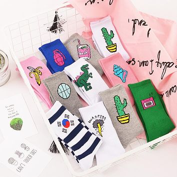 Women Harajuku Cotton Cactus Alien Patterned Design Cotton Socks funny