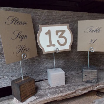 10 Wood Wedding Table Number Block Stand Wood Block With Card Clip Wood Block Place Card Holders Stained Wood Card Holder