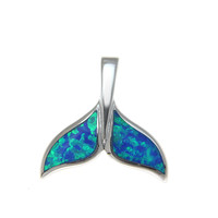 INLAY OPAL HAWAIIAN WHALE TAIL SLIDE PENDANT STERLING SILVER 925 SMALL LARGE