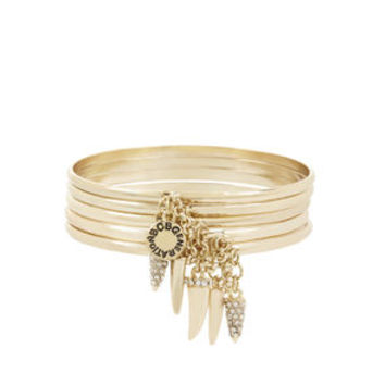 Chained To My Heart Tooth Bangles in Grey - BCBGeneration