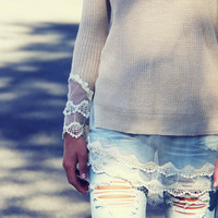 Skyline Lace Sweater in Sand