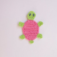 Crochet Turtle Applique 2pcs - From Cotton Yarn- Crochet Supplies For Clothing, Hair Clips, Handbags