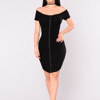 Cady Off Shoulder Dress - Black