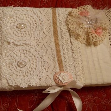 Quilt Padded, Vintage Inspired Shabby Chic Journal, Notebook, Wedding Guest Book, Baby Shower Book