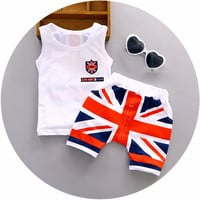 baby boy clothes  Summer cotton baby clothing set 2pc for 1 2 3 years old boys vest suit A021-108