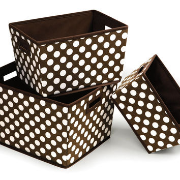 Badger Baskets Nesting Trapezoid 3 Basket Set (Brown Polka Dots)