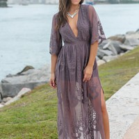 Midnight Lace Maxi Romper