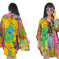 vintage 90s VIVID tropical duster jacket oversized blouse top citrus beachy summer slouchy new wave neon pastel grunge shirt blouse large