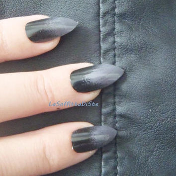 black and grey gothic false nails gradient gray black nails drag queen fake nail punk rock gothic wedding airbrush mani lasoffittadiste