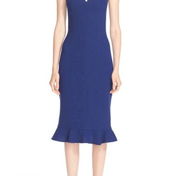 Silk V-Neck Ruffle Hem Sheath Dress