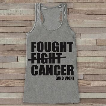 Women's Fought Cancer Tank - Cancer Awareness Tank - Grey Tank Top - Grey Racerback Tank Top - Running Race Team Tanks - Fight Cancer Shirt