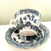 Porcelain Tea Cup And Soucer Set, China Blue, Town Scene, Country Estate, Coffee Cup, Garden Follies, Delft Blue