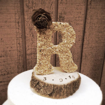 Rustic wedding cake topper wooden letter country weddings