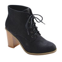 Nature Breeze Avery Women's Classic Faux Leather Lace-Up Stacked Heel Bootie