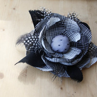 Black White Checked Hand Made Flower Brooch,Hair,Hat or Handbag Accessory Polca Dots Feathers