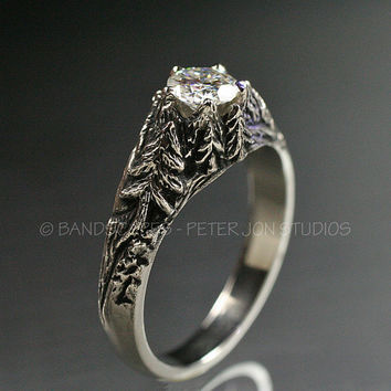 CRYSTAL PEAKS .50ct. Moissanite in 14k White Gold. Engagement Wedding Ring Set