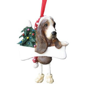 "Basset Hound Ornament with Unique ""Dangling Legs"" Hand Painted and Easily Personalized Christmas Ornament"
