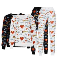 Harajuku new 2015 3D tracksuits print superman diamond supply co cartoon emoji jogging suits sweat shirts + pants 2 piece set for men/women sportwear = 1946746756