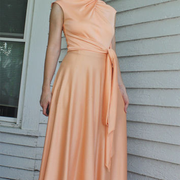 70s Peach Maxi Dress Hippie Disco Vintage XS S