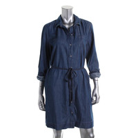 Tommy Hilfiger Womens Denim Belted Shirtdress