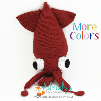 Crochet Squid- Crochet Animal, Crochet Toy, Under the Sea Nursery, Under the Sea Baby Shower, Giant Squid, Sea Animals- Made to Order