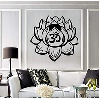 Vinyl Wall Decal Lotus Flower Yoga Buddhist Meditation Bedroom Stickers Unique Gift (110ig)