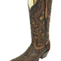 Corral Brown Full Overlay & Studs Snip Toe Boots G1309