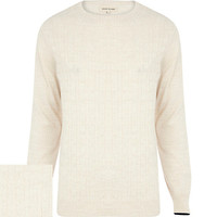 River Island MensEcru tipped cuff cable knit sweater