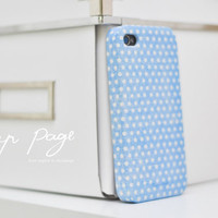 Apple iphone case for iphone iPhone 5 iphone 4 iphone 4s iphone 3Gs : White polka dots on blue background