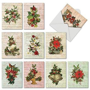 10 Assorted 'Holly Notes' Merry Christmas Cards,  Season's Greetings Cards with Envelopes, Festive Stationery with Vintage Poinsettias and Ivy on Holiday Sheet Music