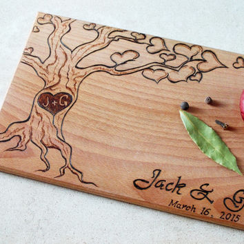 Personalized cutting board, Wedding cutting board, Anniversary cutting board, Wedding gift, Chopping board,Family Tree handmade wood burning