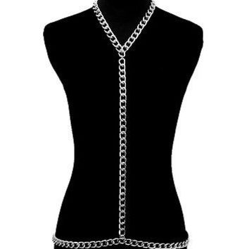 Silver BIG Y-LINE LINK CHAIN BODY CHAIN Statement CHUNKY Celebrity Inspired